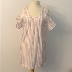 Madewell dress. White color with red pinstripes.